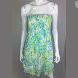 LILLY PULITZER Fish Print Strapless Shift Dress